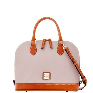 Dooney & Bourke Zip Zip Pebbled Leather Strap Satchel in Oyster