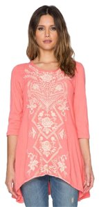 Johnny Was 3/4 Sleeves Cotton Scoop Neck Embroidered Boho Tunic