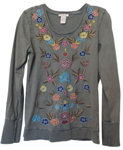 Sundance Johnny Was Embroidered Knit Sweatshirt Small Top Multi-Color