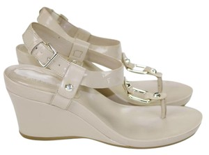 BCBGeneration Summer Spring Patent Rocker Cream Nude Wedges