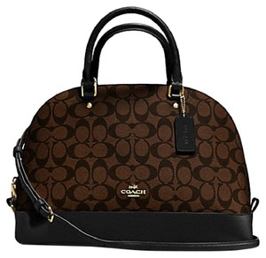 Coach Structured Dome Adjustable Leather Monogram Satchel in Black