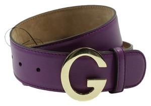 Gucci GUCCI 362732 Unisex Leather G Buckle Belt, Cyclamen 70-28 DISPLAY