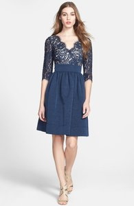 Eliza J Navy Eliza J Navy Lace & Faille Dress Dress