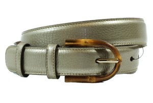 Gucci NEW GUCCI 322954 Bamboo Buckle Leather Belt, Golden Beige 90-36