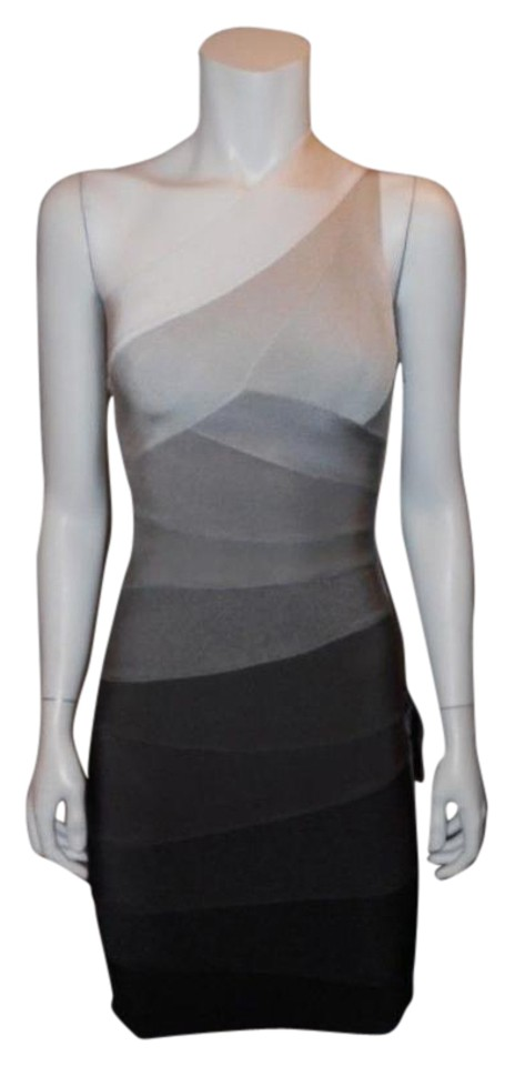 Hervé Leger Grey Black White Ombre Xs Alexis Off One Shoulder Bandage Stretch Mini Mid Length Tail Dress Size 0 49 Retail