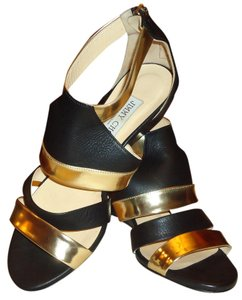 Jimmy Choo MATTE BLACK -GOLD METALLIC SANDAL Wedges