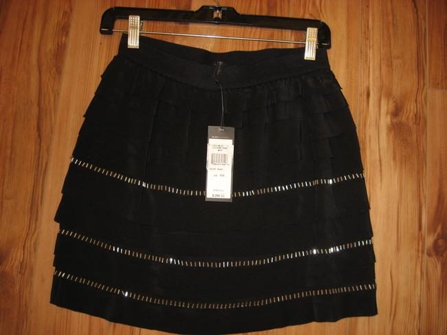 BCBGMAXAZRIA Silk Bcbg Accents Mini Skirt Black with silver