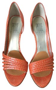 Pelle Moda Open Toe Platform Bright Orange Snake Skin Pumps
