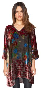 Johnny Was V-neck 3/4 Sleeves Rayon Silk Velvet Tunic