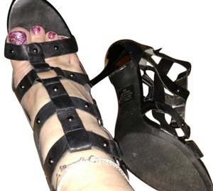 Guess Black Gladiator Stiletto Metallic Black Gold Sandals