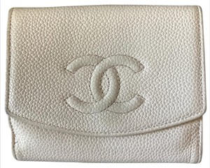 Chanel chanel caviar leather beige cream CC trifold small wallet