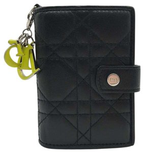 Dior cannage lady Dior quilted Lambskin leather card case holder wallet