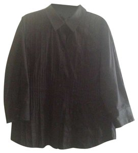 Alfani Button Blouse Button Down Shirt Black