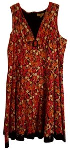 Notations short dress Multi (Yellows, Pinks, Oranges, and Purples) with Black Plus-size Summer Flowy on Tradesy