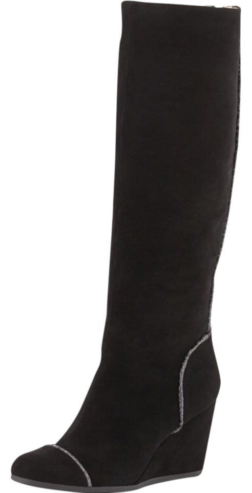 4ecf7554b740 Taryn Rose Black Darius Suede Wedge Knee Boots Booties Size US 5.5 ...