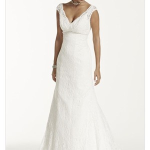 David's Bridal Ivory/Champagne Lace Beaded with Embelliments All Over Trumpet Feminine Wedding Dress Size 4 (S)