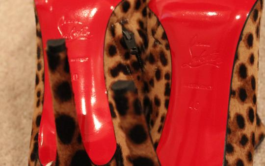Christian Louboutin Animal Print Leopard Ponyhair Pointed Toe Ankle Dahlia 100 Mm 100 Brown Black Multi-color Boots