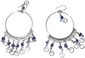 Urban Outfitters Silver and Lapis Lazuli Ethnic Earrings