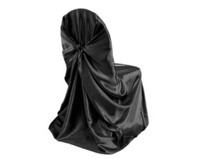 Black Satin 150 Universal Chair Covers Reception Decoration