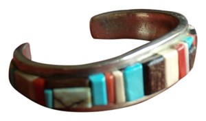 Navajo Artist David Tune Sterling silver bracelet by artist David Tune(Navajo) Indian jewelry, inlay with turquoise,coral,gaspeite,spiny oyster and more
