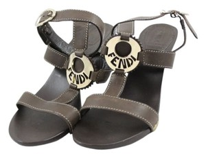 Fendi Clog Ankle Strap Brown Leather Dark brown Sandals