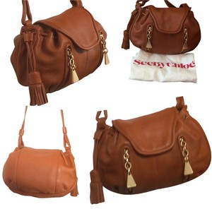 See by Chloé Tassel Double Front Pockets Drawstring With Flap Over Press Stud Closure Extra Long Strap Soft Supple Leather Shoulder Bag