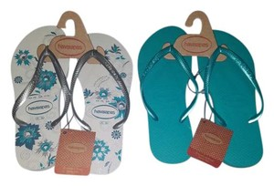 Havaianas Teal/White Sandals
