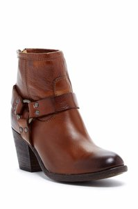 Frye Tabitha Harness Ankle Back Zipper Cognca Leather Brown Boots