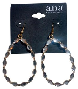 a.n.a. a new approach New Silver & Gold Crystal Hoop Earrings 3 Inch J3128