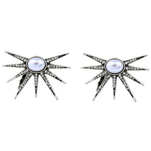 Other Pearl Crystal Star Drop Statement Earrings