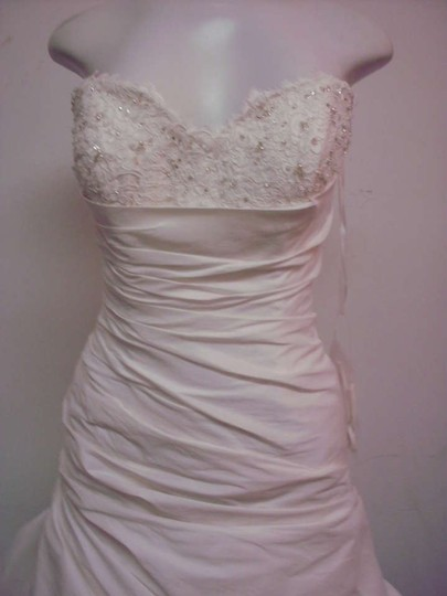 Christina Wu Ivory/Silver Dupioni/Lace 18781 Formal Wedding Dress Size 8 (M)