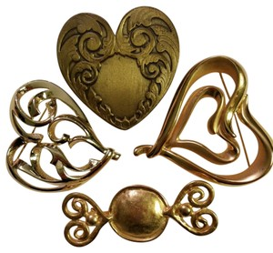 Unique Vintage Valentine's Day Lot of 4 Vintage Heart Brooches
