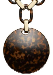 Michael Kors NEW-MICHAEL KORS GOLD TORTOISE LARGE CHAINLINK DISK PENDANT NECKLACE