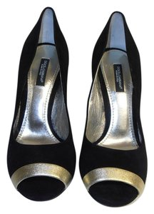 Dolce&Gabbana Designer Open Toe Suede New Without Box Dolce & Gabbana black Pumps