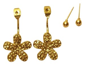 Other Pave Flower Front to Back Ear Jackets Gold Ball Stud Earrings