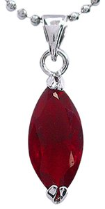 Other New 10K White Gold Filled Red Cubic Zirconia Necklace J3129