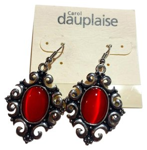 Carol Dauplaise New Black Red Carol Dauplaise Earrings Cat's Eye J3130