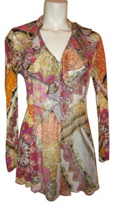 V Cristina Ruffled Knit Sheer Rhinestone Tunic