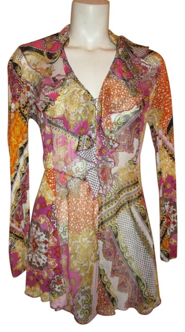 Item - Multicolor Ruffled Long Sleeve Blouse Tunic Size 8 (M)