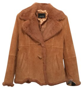 Adler Collection New/nwt Suede Fur Leather Coat Light Brown (Tan) Leather Jacket