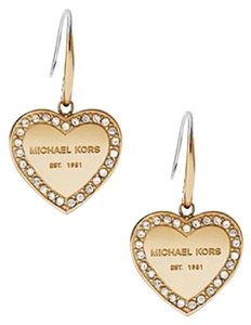Michael Kors NWT MICHAEL KORS MKJ5395 GOLD TONE LOGO PAVE HEART DROP EARRINGS W BAG