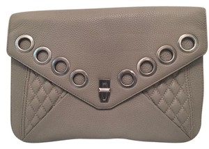 Rebecca Minkoff Grommets Zippers Expandable Taupe Clutch