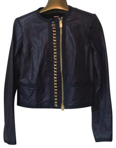 Blumarine Navy Lamb w Gold Leather Jacket