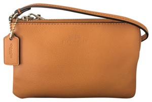 Coach Leather Chic Ships Next Day Wristlet in Cognac