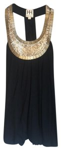 Haute Hippie Beaded Silver Top Black/Silver and Gold Metallic