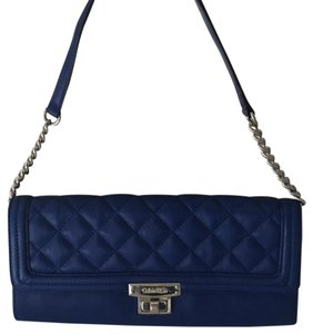 Calvin Klein Classic Vintage Leather Ships Next Day New With Tags Retro Blue Clutch