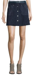 Rag & Bone A-line Straight Hem Snap Front Leather Waist Mini Skirt Navy