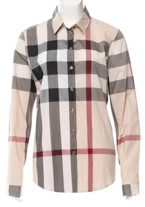 Burberry Nova Check Longsleeve Exploded Check Cotton Plaid Top Beige, Black, Red
