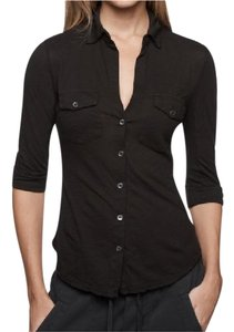 James Perse Side Panel James Button Down Shirt Black