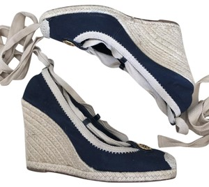 Tory Burch Navy blue and tan Wedges